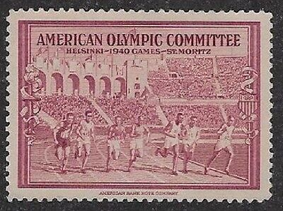 USA Poster Stamp: American Olympic Committee, 1940 Helsinki, Finland  (dw318)