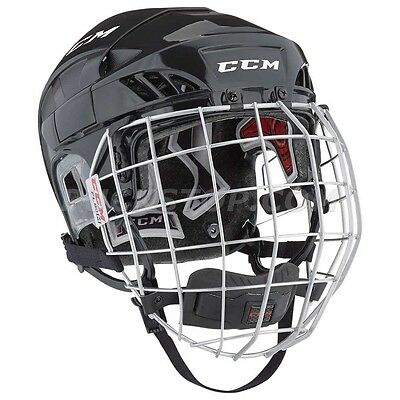 New Ccm Fitlite 60 Combo Helmet Color - Black Size - Senior Free Shipping