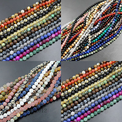 """6mm Smooth Matte Faceted Natural Gemstones Round Loose Beads 15"""" Jewelry Making"""