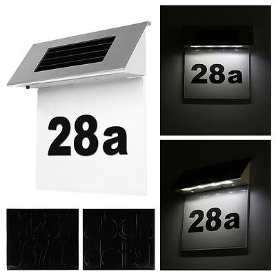 Solar Powered House Number Light 4 Highlight LED Outdoor Garden Doorplate Lamp