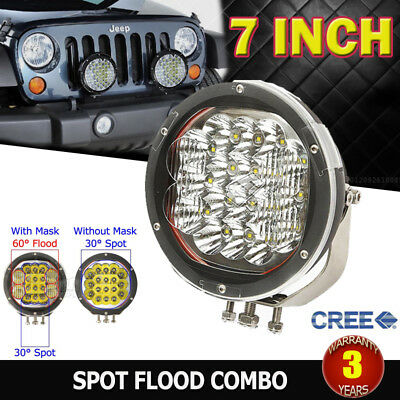 Pair 7Inch 3600W Cree Led Spot&flood Driving Light Bar Replace Hid 4X4Wd Ute Suv