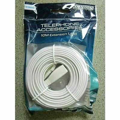 Dencon White Extension Cable Lead Cord Phone Line Bt Uk 10M