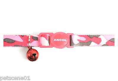 Ancol Pink Urban camouflage camo Cat Collar with Bell 671250 safety Buckle