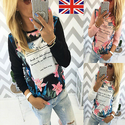 UK Women Casual Floral Print Shirt Long Sleeve Cotton Blouse Ladies Tops T-shirt