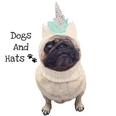 The Unicorn hat, snood for your dog. Pug, French Bulldog, Whippet. Dog Hat.