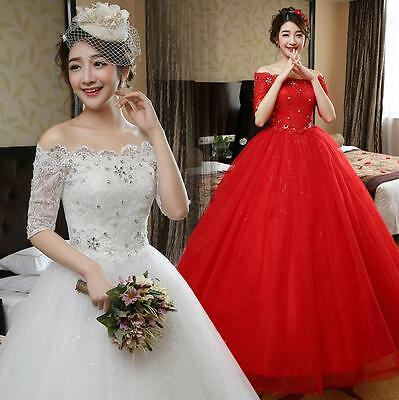 Ivory/Red Off Shoulder Lace Slim Princess Wedding Dresses Bridal Ball Gowns