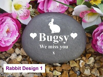 Rabbit Memorial - Large Pebble (Stone Effect) - Personalised - Weatherproof - VR