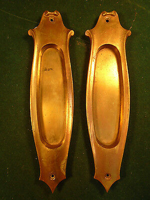 LARGE & HEAVY PAIR of  BRASS VICTORIAN POCKET DOOR PLATES BEAUTIFUL  (6262)