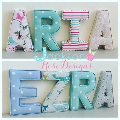 Nursery Letters Wall Art Handmade Fabric name, personalised, girl, boy