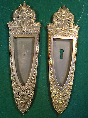 LARGE & HEAVY PAIR of  SARGENT BRASS VICTORIAN POCKET DOOR PLATES  (6263)