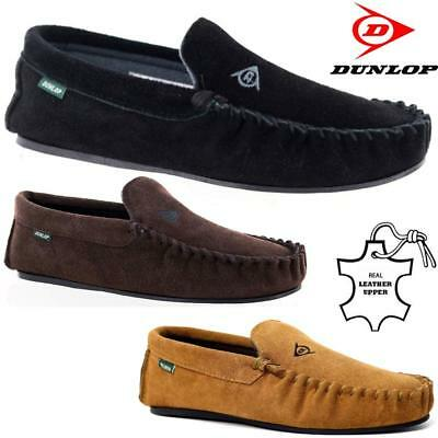 Mens Real Leather Moccasins Slippers New Dunlop Branded Warm Fur Winter Shoes