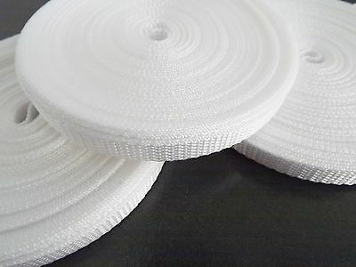 10mm White Polypropylene webbing Tape x 10 Metres
