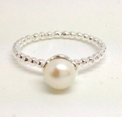 Real pearl ring solid Sterling Silver, freshwater, UK size R, New. Stackable.