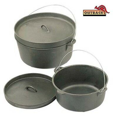 OUTBACK 9 QUART Cast Iron Dutch Camp Oven Heavy Duty Pot Pan Camping Cookware