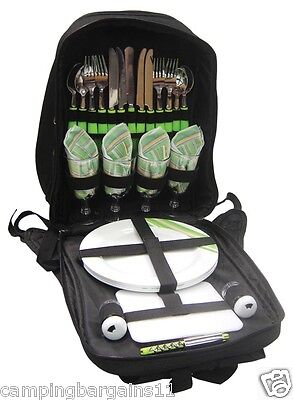 Picnic Pack 4 PERSON BACKPACK SET 28 Pieces with Insulated Cooler Beach Camping