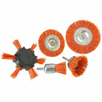 5pc Nylon Abrasive Filament Brush Drill Spindle 6mm Shank De Burring Rust TE876