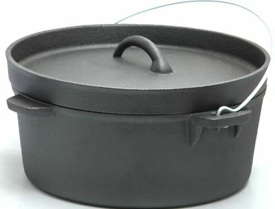 Cast Iron Dutch Camp Oven Lipped Lid 1, 2.5, 4.5, 9, 12, 16 Quart Camp Cooking