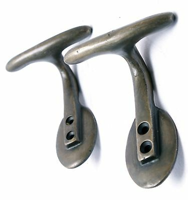 Set of 2 Single T-Shape Haberdasher Coat Hat Hooks Hanger Solid Brass