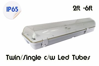 Led Weatherproof Strip Light 2Ft - 6Ft Non Corrosive Single Twin Garage Light