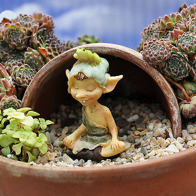 Miniature Fairy Garden Pixie Meditating with Frog