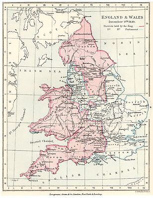 Antique Map, English Civil War, England & Wales December 1643