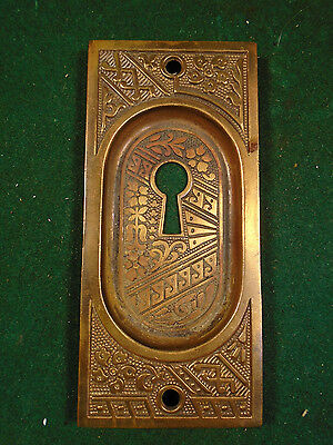 Single Brass Eastlake Pocket Door Plate -  Beautiful Design (6322)