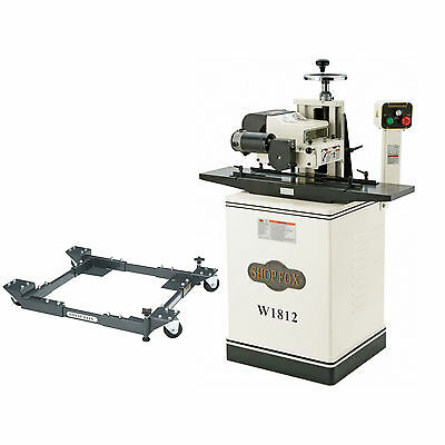 Shop Fox W1812 2HP 220V Single-Phase Planer with Stand, D2057A Mobile Base