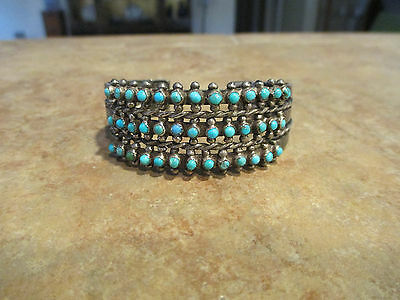Exquisite OLD ZUNI Sterling Silver SNAKE EYE Turquoise ROW Cuff Bracelet