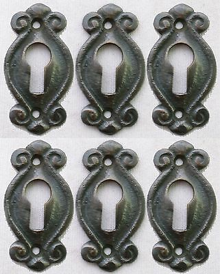 Solid Brass Keyhole Escutcheons Set of 6 Jewelry Victorian Earring Size