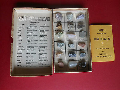 VINTAGE -  SCOTT'S ROCKS & MINERALS COLLECTION - Set of 18, display with BOOKLET