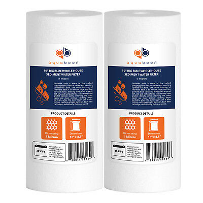 """2-PACK of Aquaboon Sediment Water Filter Whole House Big Blue 1 Micron 10""""x4.5"""""""