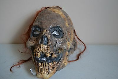 USED Vintage Halloween Creepy SKELETON VINYL MASK PROP