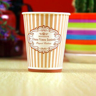 50pcs Disposable 9oz Brown Stripe Paper Cups For Wedding Birthday Party