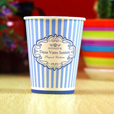 50pcs Disposable 9oz Blue Stripe Paper Cups For Wedding Birthday Party