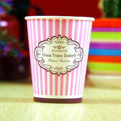 50pcs Disposable 9oz Pink Stripe Paper Cups For Wedding Birthday Decoration