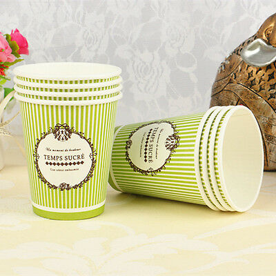 50pcs Disposable 7oz Green Stripe Paper Cups For Wedding Birthday Party