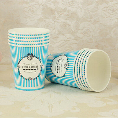 50pcs Disposable 7oz Blue Stripe Paper Cups For Wedding Birthday Party