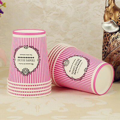 50pcs Disposable 7oz Pink Stripe Paper Cups For Wedding Birthday Party