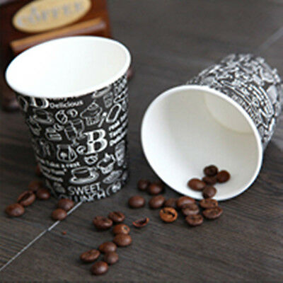 50pcs Disposable 7oz Black Coffee Paper Cups For Wedding Birthday Party