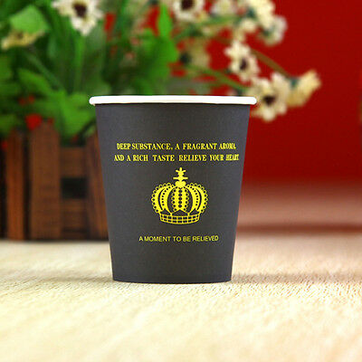 50pcs Disposable Crown Pattern 7oz Black Paper Cups For Wedding Birthday Party