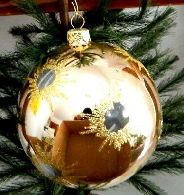 5 Inch-NEW-Rare-Gold Ball w/Clear Bullet Hole Design-Glass Ornament/Gift-Germany