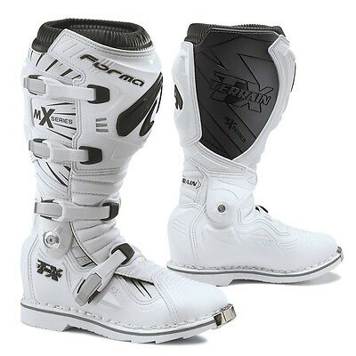 Forma Terrain TX motocross boots, pivot tech white offroad motorcycle dirt mx