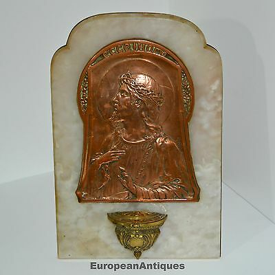 Large Antique Holy Water Font c1860 Signed by Artist Jesus Christian Copper Onyx