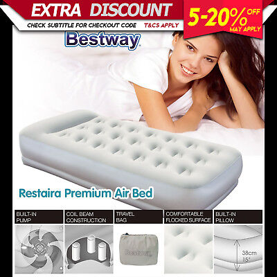 Bestway LUXURY SINGLE AIR BED Inflatable Mattress Built-in Electric Pump Camping
