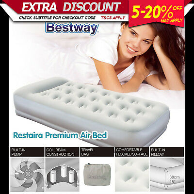 Betway LUXURY SINGLE AIR BED Inflatable Mattress Built-in Electric Pump Camping