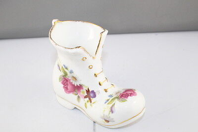 "Vintage Flambro ""Summer Rose"" Fine Bone China Ladies Boot, Floral & Gold Trim"