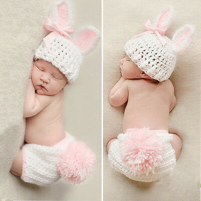 Newborn Baby Girl Boy Knit Crochet Costume Photo Photography Prop Hats Outfit GN