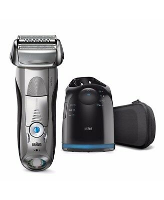 New Braun Series 7 Wet/Dry Electric Shaver Silver Plus Clean&Charge Station & Tr