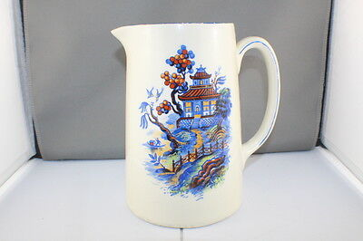 Vintage Newhall Hanley Staffordshire Porcelain Pitcher / Asian Motifs 1930 - 51