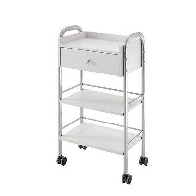 One Drawer Two Tier Beauty Trolley Wheels White Salon Hairdressing Spa Trolley